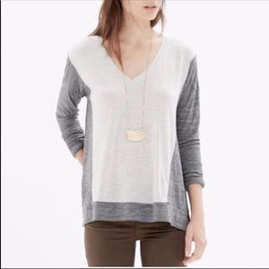 Madewell Gray Tan All Around V Neck T Shirt Top